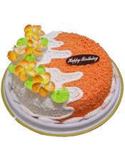 圆形鲜奶蛋糕,白色、橙色奶油铺面,鲜奶花装饰