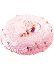 圆形鲜奶蛋糕,奶油小花,粉色调装饰