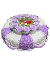 圆形鲜奶蛋糕,紫色鲜奶玫瑰花装饰,紫色奶油围边