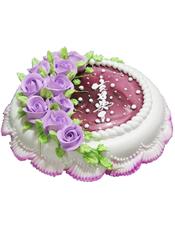 圆形鲜奶蛋糕,巧克力色果酱,紫色鲜奶玫瑰花装饰