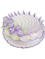 圆形鲜奶蛋糕,紫色奶油花装饰
