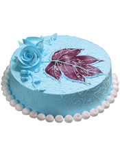 圆形鲜奶蛋糕,蓝色调奶油,紫色果酱,蓝色鲜奶玫瑰花装饰