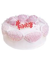 圆形鲜奶蛋糕,三朵同色奶油玫瑰花