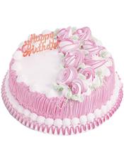 圆形鲜奶蛋糕,九朵奶油花玫瑰花齐聚一侧