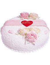 圆形鲜奶蛋糕,奶油花点缀