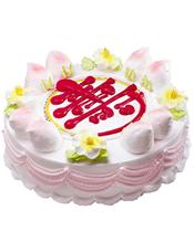 圆形鲜奶蛋糕,八个蟠桃围边,中间一个红色的寿字