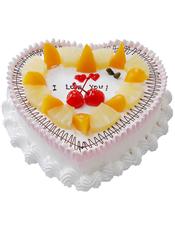 心形鲜奶水果蛋糕,时令水果装饰