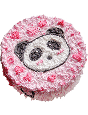 圆形鲜奶蛋糕,卡通熊猫头做面。