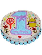 """圆形卡通鲜奶蛋糕,奶油花写有数字""""1""""字样,绘有卡通植物、英文字母等图样"""