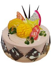 圆形鲜奶水果蛋糕,咖啡色调奶油,时令水果、巧克力片装饰