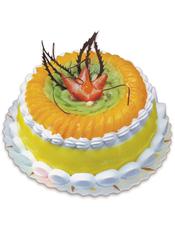 圆形双层鲜奶水果蛋糕,黄色果酱,上层时令水果铺满