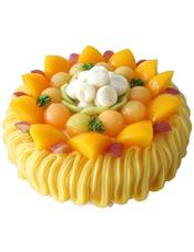圆形水果蛋糕,黄色奶油流苏,时令水果铺满