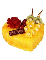 心形水果蛋糕,时令水果装饰,黄色果酱,一朵康乃馨点缀
