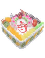 方形鲜奶水果蛋糕,时令水果装饰,水果围边