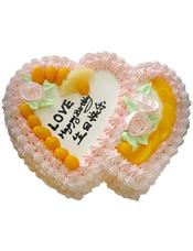 双心鲜奶水果蛋糕,时令水果装饰,
