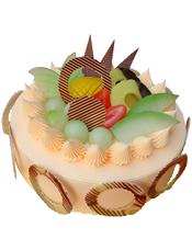 圆形水果蛋糕,圆环巧克力围边,时令水果装饰
