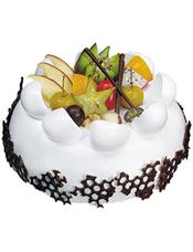 圆形水果蛋糕,网状巧克力围边,时令水果装饰