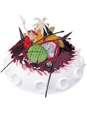 圆形水果蛋糕,时令水果装饰,果酱铺面