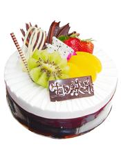 圆形水果蛋糕,时令水果装饰,黑色巧克力围边
