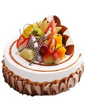 圆形水果蛋糕,时令水果装饰.