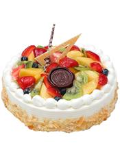 圆形水果蛋糕,时令水果装饰,点缀巧克力