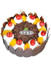 圆形水果蛋糕,时令水果装饰,巧克力围边