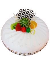 圆形鲜奶水果蛋糕,新鲜水果,巧克力插片