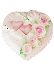 心形鲜奶蛋糕,鲜奶玫瑰花装饰