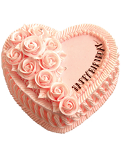粉色心形鲜奶蛋糕,同色鲜奶玫瑰花