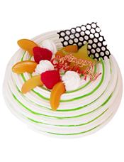 圆形鲜奶水果蛋糕,时令水果,巧克力插片