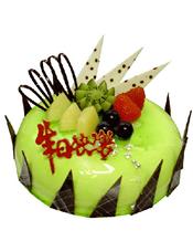 圆形鲜奶水果蛋糕,时令水果装饰,巧克力插片。
