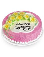 圆形鲜奶蛋糕,8朵黄色鲜奶做的小花