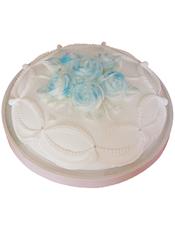 圆形鲜奶蛋糕,蓝色鲜奶玫瑰花