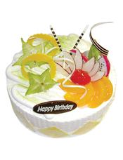 圆形鲜奶水果蛋糕,时令水果