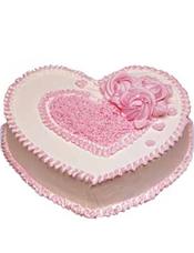 心型鲜奶蛋糕,粉色调装饰