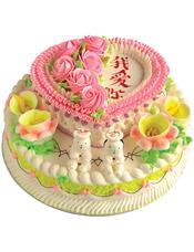 双层鲜奶蛋糕,上层心型左侧奶油花点缀,三色奶油三层围边,下层圆形,奶油花装饰,中间一对可爱小人装饰。