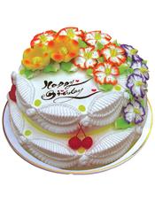 双层圆形鲜奶蛋糕,各色奶油花装饰,水果点缀。