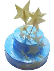 双层鲜奶蛋糕,星星状巧克力片装饰