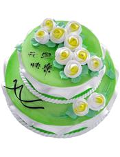双层鲜奶蛋糕,奶油花装饰