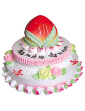 三层鲜奶蛋糕,上层做成蟠桃。