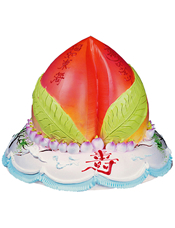 二层鲜奶蛋糕,最上层做成蟠桃,小蟠桃围绕,正前方一个寿字。