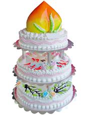 四层圆形鲜奶蛋糕,最上层做成蟠桃