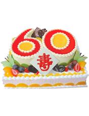 """方形水果双层蛋糕,上层数字""""60""""形蛋糕,双层蛋糕时令水果铺满围边(十二寸起订)"""