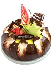 圆形水果巧克力蛋糕,时令水果,巧克力拉丝