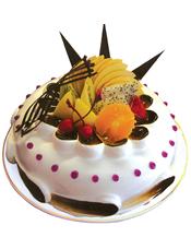 圆形鲜奶水果蛋糕,时令水果,巧克力插片。