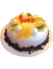 圆形鲜奶水果蛋糕,新鲜水果,外围巧克力屑