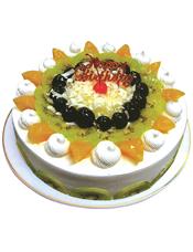 圆形鲜奶水果蛋糕,各式水果装饰