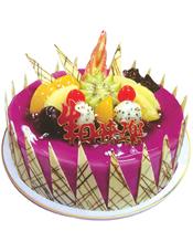 圆形鲜奶水果蛋糕,各式水果,巧克力插片围边