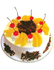 圆形鲜奶水果蛋糕,各式水果,巧克力屑