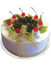 圆形鲜奶水果蛋糕,时令水果装饰,巧克力屑中间点缀。